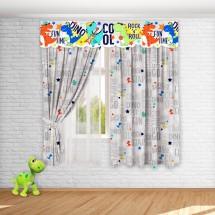 Комплект штор с 3D-ламбрекеном для детской «Дино», Серый