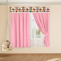 Комплект штор с 3D-ламбрекеном для детской «Плюшевые мишки», Розовый