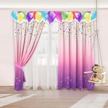 Комплект штор с 3D-ламбрекеном для детской «Праздник», Розово-фиолетовый