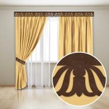 Комплект штор с карнизной планкой «Унисон», золото